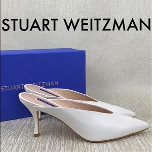 🆕STUART WEITZMAN NEW WHITE MULE HEELS 💯AUTHENTIC